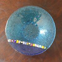 Vintage Two Tone Blue Venetian Millefiori Glass Small Bowl