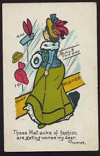 MILLINERY Hat shop comic postcard