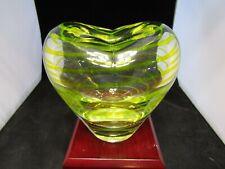 "Vintage Mid-Century Art Glass- Yellow Green Striped Heart Vase ~ 5.0"" x 4.75"""