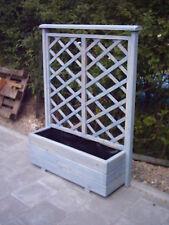 Holz Blumenkasten, Pflanzkasten mit Rankgitter Lasur Taubenblau