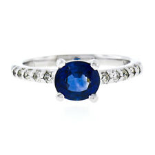 NEW 14K White Gold 1.30ctw GIA Oval Sapphire Solitaire & Diamond Engagement Ring