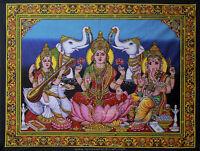 hindu batik laxmi lakshmi ganesha saraswati sequin wall hanging tapestry decor