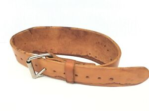 Power Lifting Genuine Cowhide Light Brown Leather Belt with Steel Buckle Small