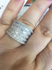 Genuine 3 ct white  Diamond Rhodium overlay Sterling Silver Ringl
