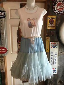 VTG SOFT Crinoline Double Layer Petticoat  Skirt Full LIGHT PALE BLUE