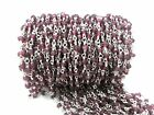 5 FEET NATURAL GARNET RONDELLE 3-4MM BEAD ROSARY BEADED CHAIN SILVER PLATED WIRE
