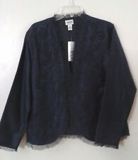 CHICO'S Santino Silk Midnight Lined Jacket Chico Size 2 / 12 NWT