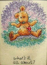counted cross stitch Bear Newtons Law What's it all aboutAnchor thread 16ct aida