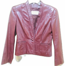 70's Casual Corner 100% Leather Blazer Jacket Burgundy Wine Size 7/8 Korea Vtg