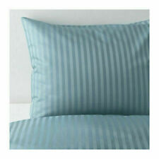 Ikea NATTJASMIN Full/Queen Duvet Cover and 2 Pillowcases set Striped Blue 310 TC