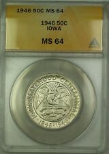 1946 Iowa Commemorative Silver Half Dollar 50c Coin ANACS MS-64 Very Choice BU
