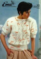 """EM4079 LADIES MOHAIR LACY SWEATER KNITTING PATTERN 32-42""""/81-107cm"""