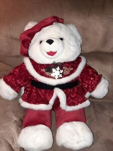 "SNOWFLAKE TEDDY WHITE PLUSH HOLIDAY GIRL BEAR 22"" FROM 2000"