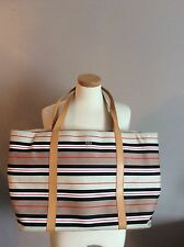 CITY DKNY LARGE CANVAS LEATHER TOTE ,BEIGE ,BLACK STRIPED SHOULDER BAG