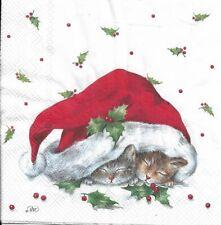 Lot de 4 Serviettes en papier Chatons Bonnet de Noël Decoupage Decopatch
