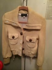 Patricia Pepe Ivory Will Jacket With Brown Leather Buttons