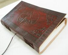 LARGE Handmade Paper Leather Bound Journal Diary Blank Book of Shadows Pentagram