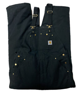 Carhartt Canvas Bib Overalls Men's 36 X 32 Black Double Lined Insulated GUC Work