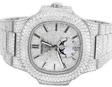 Steel Mens Patek Philippe Nautilus 5726/1A Pave Set VS Diamond Watch 34.65 Ct