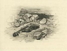 ANTIQUE MUSICAL GUITAR LYING ON BEACH WITH ROCKS NAUTICAL BIRD MINIATURE PRINT