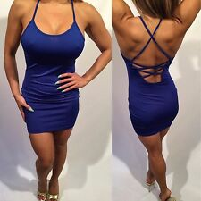 Connie's Super Sexy Semi Sheer Ultimate Backless Royal Blue Tank Dress L
