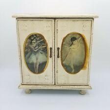Beautiful Musical Jewelry Box, Edgar Degas Ballerina Artwork Cream White