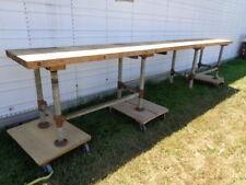 15 Foot Vintage Butcher Block Table Restaurant Brewery Industrial Island