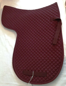 New English Dressage Saddle Pad Quilted Burgandy Blanket Straps Horse Tack