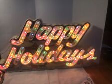 Vtg Holiday Classics Happy Holidays Lighted Greetings Sign 8 function Christmas