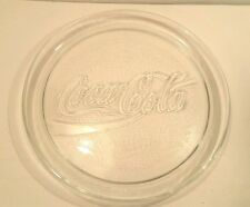 Coke Coca-Cola Logo Glass Dish Tray Round Clear Embossed Glass Soda Advertise