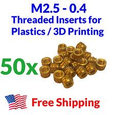 Qty 50 M2.5 2.5mm M2.5-0.4 Brass Threaded Heat Set Screw Inserts for 3D Printing
