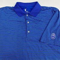 F&G Tech Golf Polo Shirt Mens 2XL XXL Short Sleeve Blue Striped 1696 Logo Casual