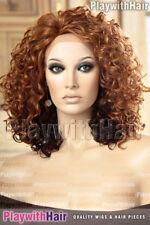 Lace Front Bouncy Curly Curls Wig Heat Friendly Safe OK Auburn Darker Underlayer