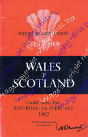 WALES v SCOTLAND 1962 RUGBY PROGRAMME - CARDIFF ARMS PARK