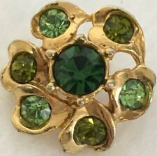 "Vintage Pin Brooch Gold Tone 1"" Green Rhinestone St Patricks Day Christmas"