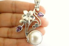 White Mabe Pearl Purple Amethyst Flower Leaf Leaves 925 Sterling Silver Pendant