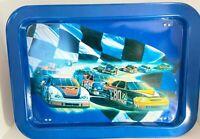 NASCAR Metal TV Lap Tray Stand Checker Flag Race Car Vtg Wall Art Hanging
