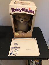 Vintage 1985 Teddy Ruxpin Talking Bear World Of Wonders Damaged Box With Poster