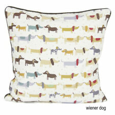 "100% Cotton WEINER DOG 18x18"" Cushion Cover - Sofa Decor Pillow Pet Animal Case"