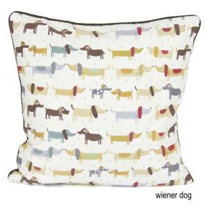 "100% Cotton WEINER DOG 18x18"" Cushion Cover - Sofa Decor Pillow Pet Animal Case"