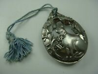 """VINTAGE 1990 SEAGULL PEWTER CANADA 3 3/4"""" OVAL CAT FLOWER ORNAMENT"""
