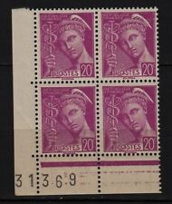 Ag31* Timbres France Neuf**MNH TBE Bloc de 4 + Marge (MERCURE n°410) 1938