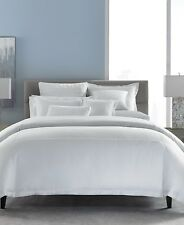 NEW Hotel Collection Embroidered Frame Cotton FULL/QUEEN Duvet Cover WHITE G1257