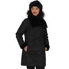 Regatta Penthea Long Length Puffer Jacket Asymmetric Zip Black UK 10 Td083 AC 03