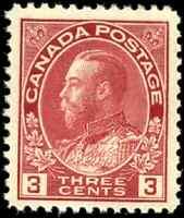 Canada #109 mint F-VF OG NH 1923 King George V 3c carmine Admiral Die I CV$55.00
