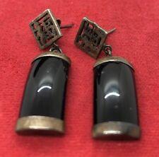 Vintage Sterling Silver Earrings 925 Black Onyx Chinese Dangle