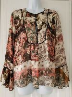 Womens Zara Boho Hippy Festival Cream Paisley Floral Smock Blouse Large New.