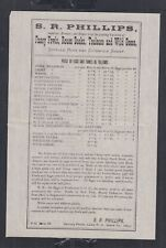 USA 1870's PHILLIPS FOWLS DUCKS & GEESE ADVERTISING PRICE LIST SPRING FARM OHIO