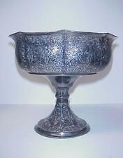 ANTIQUE DERBY SILVER CO. SILVERPLATE CHASED PEDESTAL COMPOTE FOOTED BOWL