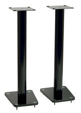 "TransDeco 32"" High Speaker Stand Glass / Steel in High Gloss Black - Pair NEW"